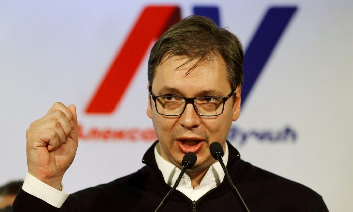 Serbian Prime Minister and presidential candidate Aleksandar Vucic speaks after his win in presidential election at his headquarters in Belgrade, Serbia on April 2, 2017. (REUTERS/Antonio Bronic)