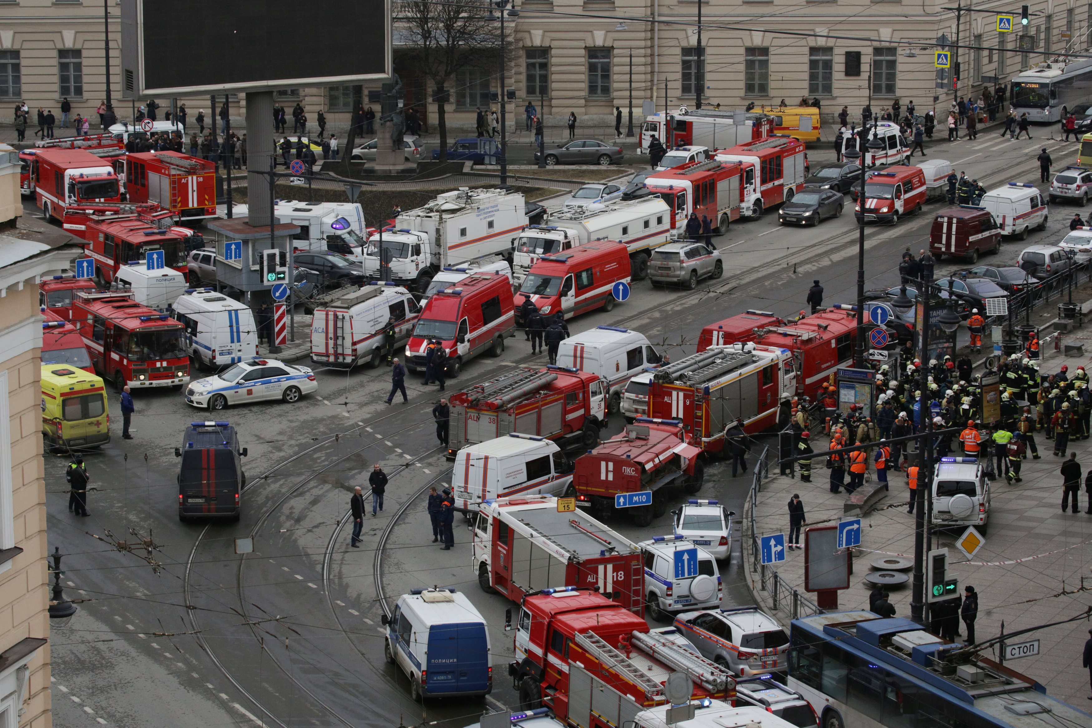 General view of emergency services attending the scene outside Sennaya Ploshchad metro station, following explosions in two train carriages in St. Petersburg, Russia on April 3, 2017. REUTERS/Anton Vaganov