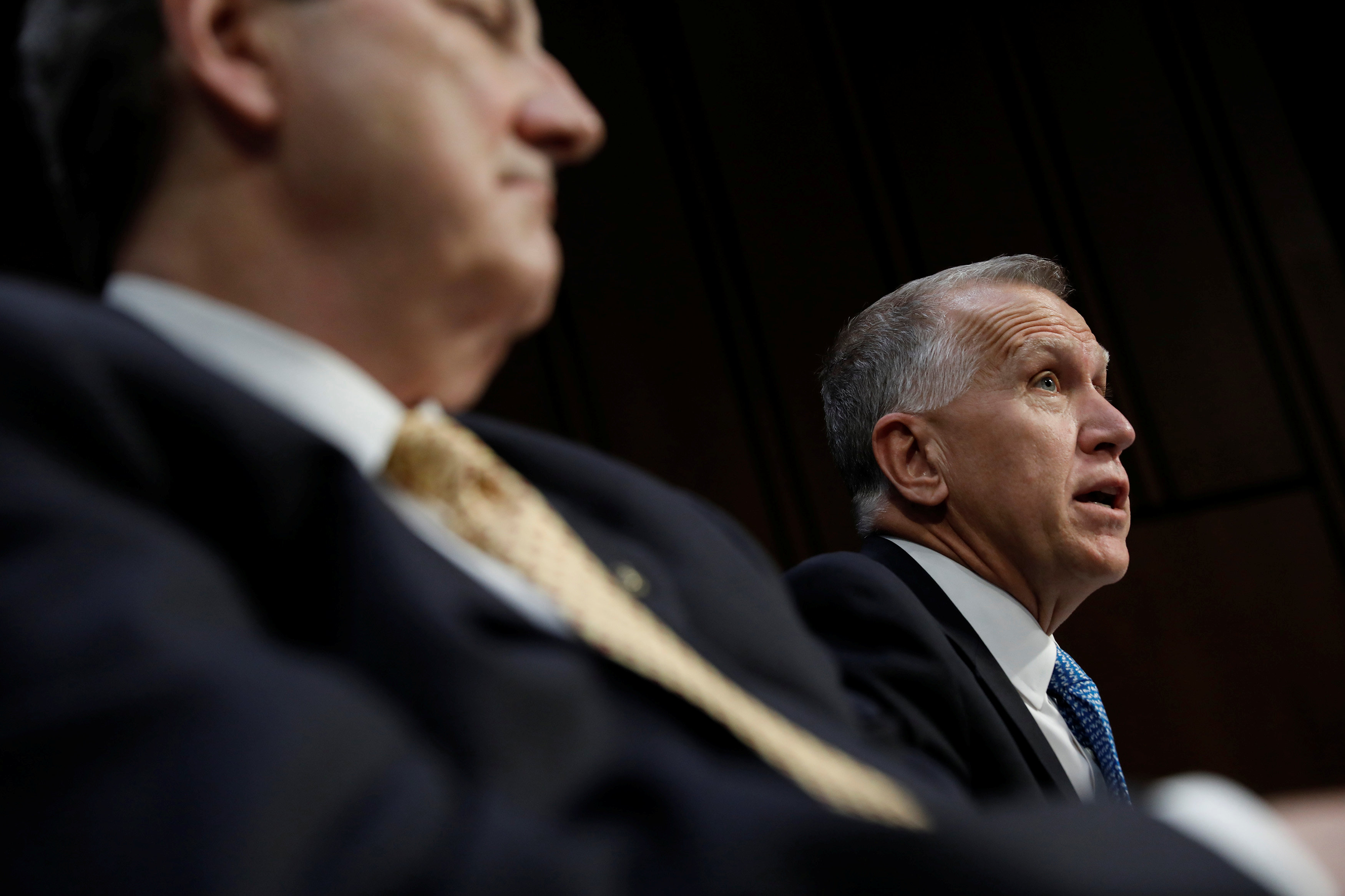 Sen. Thom Tillis, flanked by Sen. John Kennedy, speaks during a meeting of the Senate Judiciary Committee to discuss the nomination of Judge Neil Gorsuch to the Supreme Court on Capitol Hill in Washington on April 3, 2017. (REUTERS/Aaron P. Bernstein)