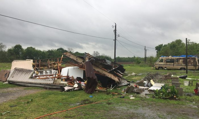 The remains of a trailer lie where a woman and her 3-year-old daughter were killed during a severe storm, in Breaux Bridge, La. on April 2, 2017. (Maj. Ginny Higgins/St. Martin Parish Sheriff's Office via AP)