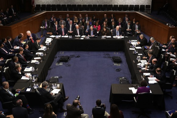 Members of the Senate Judiciary Committee hold an executive business meeting to debate and vote on Supreme Court nominee Judge Neil Gorsuch's nomination out of committee and on to a vote by the full Senate in the Hart Senate Office Building on Capitol Hill in Washington on April 3, 2017. If Senate Republicans fail to get the 60 votes necessary to confirm Gorsuch then Democrats have threatened to filibuster the nominee. Senate Majority Leader Mitch McConnell (R-KY) has said he intends to have a vote on Gorsuch this week. (Chip Somodevilla/Getty Images)