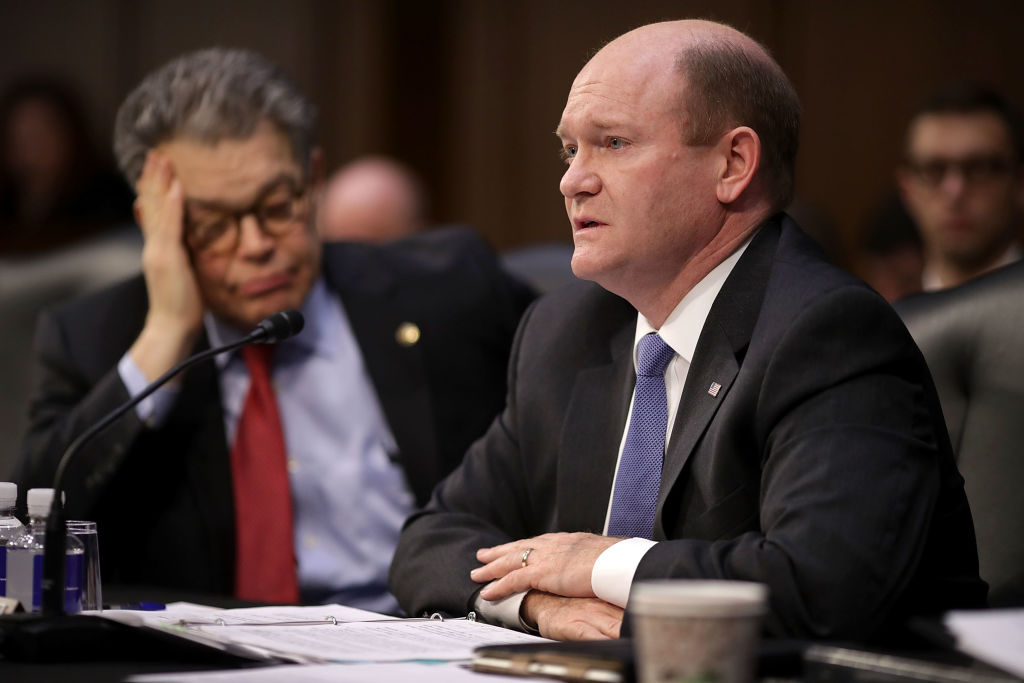 Senate Judiciary Committee member Sen. Chris Coons (D-DE) (R) during a committee meeting in the Hart Senate Office Building on Capitol Hill in Washington April 3, 2017. (Chip Somodevilla/Getty Images)
