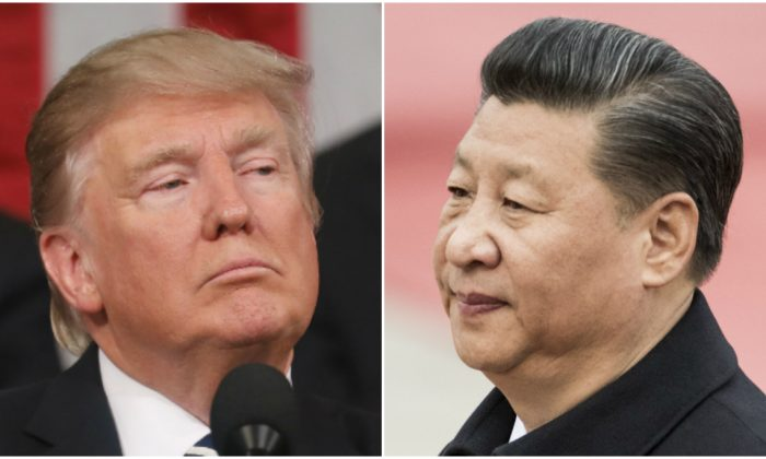 President Donald Trump speaks at a rally in Nashville, Tenn., on March 15, 2017; Xi Jinping attends a welcome ceremony with Serbian President Tomislav Nikolic at the Great Hall of the People in Beijing on March 30, 2017. ( Andrea Morales/Getty Images; FRED DUFOUR/AFP/Getty Images)
