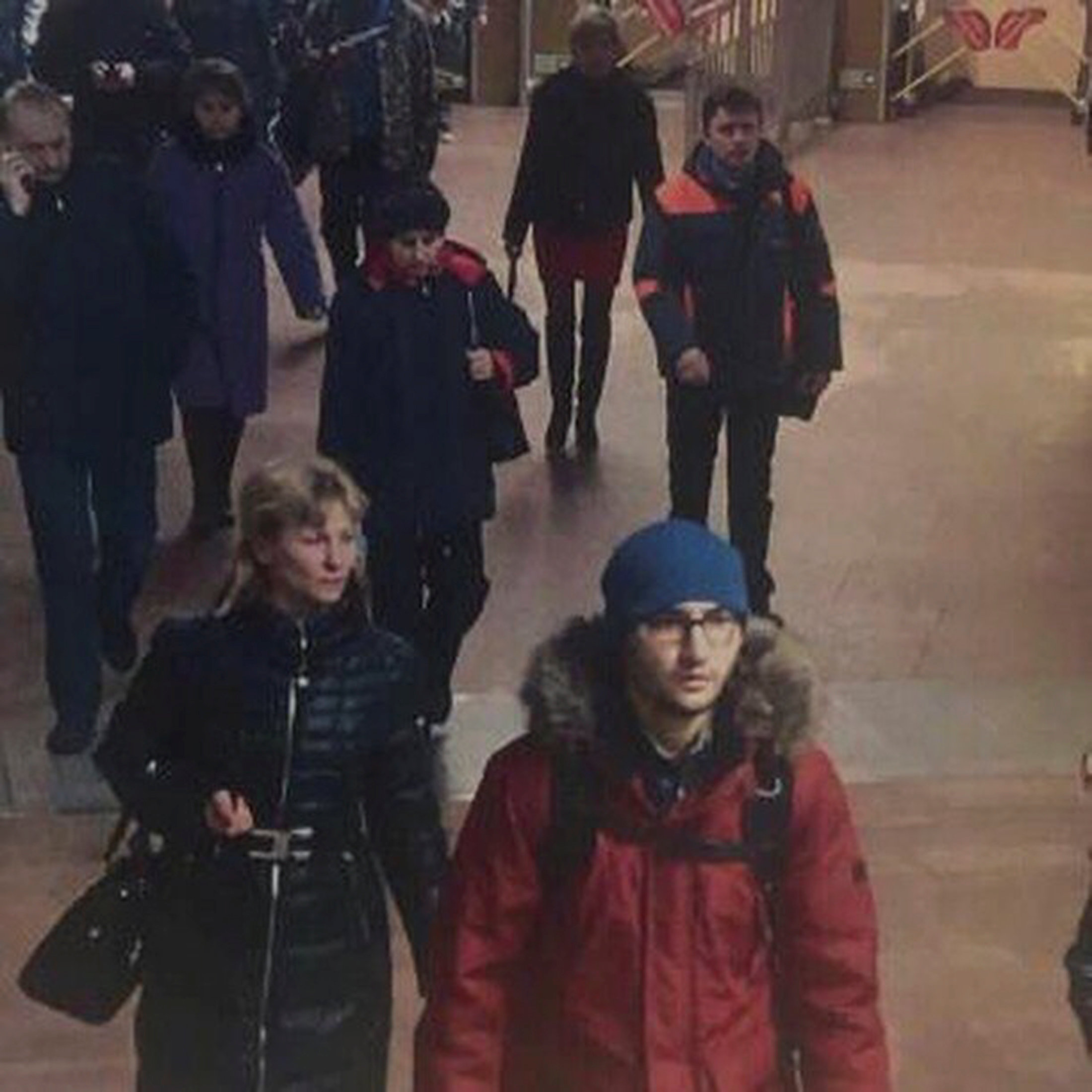 A still image of suspect Akbarzhon Jalilov walking at St Petersburg's metro station. (5th Channel Russia/via Reuters)
