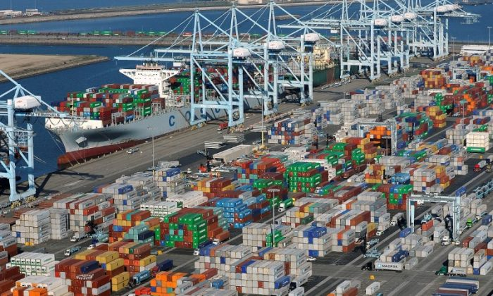 Shipping containers sit at the ports of Los Angeles and Long Beach, California in this aerial photo taken Feb. 6, 2015. (REUTERS/Bob Riha, Jr./File Photo)