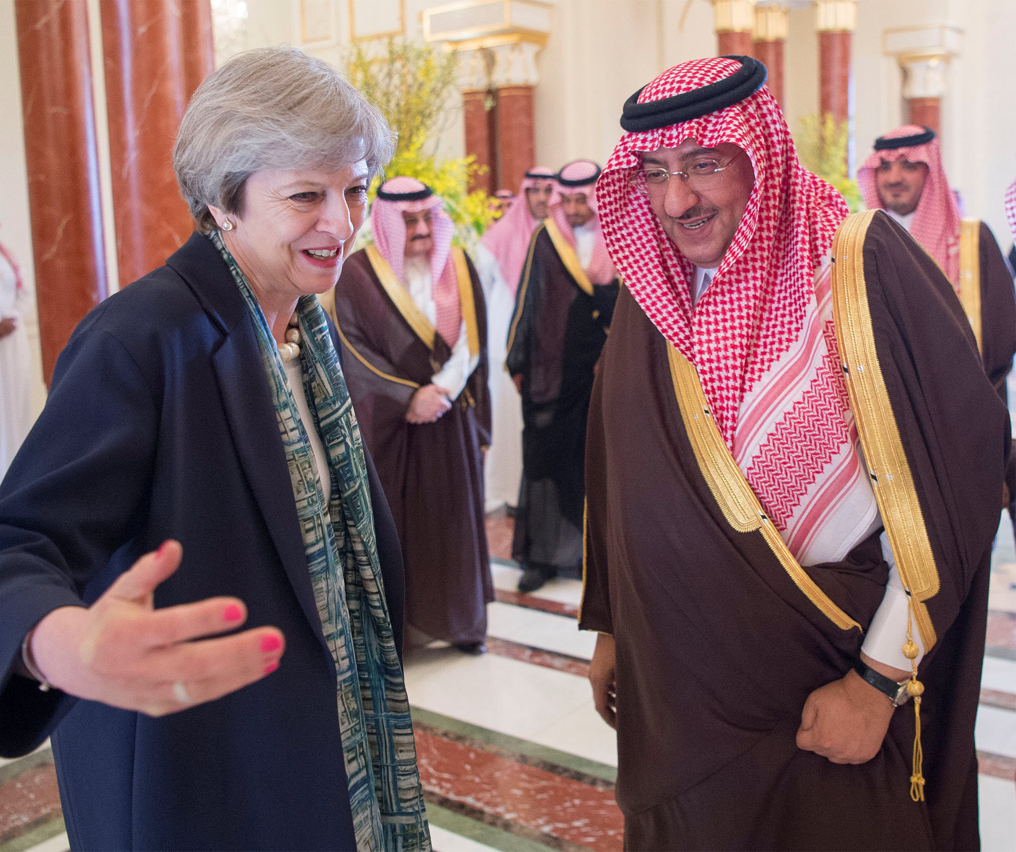 Saudi Arabian Crown Prince Muhammad bin Nayef welcomes British Prime Minister Theresa May in Riyadh. (Bandar Algaloud/Courtesy of Saudi Royal Court/Handout via REUTERS)