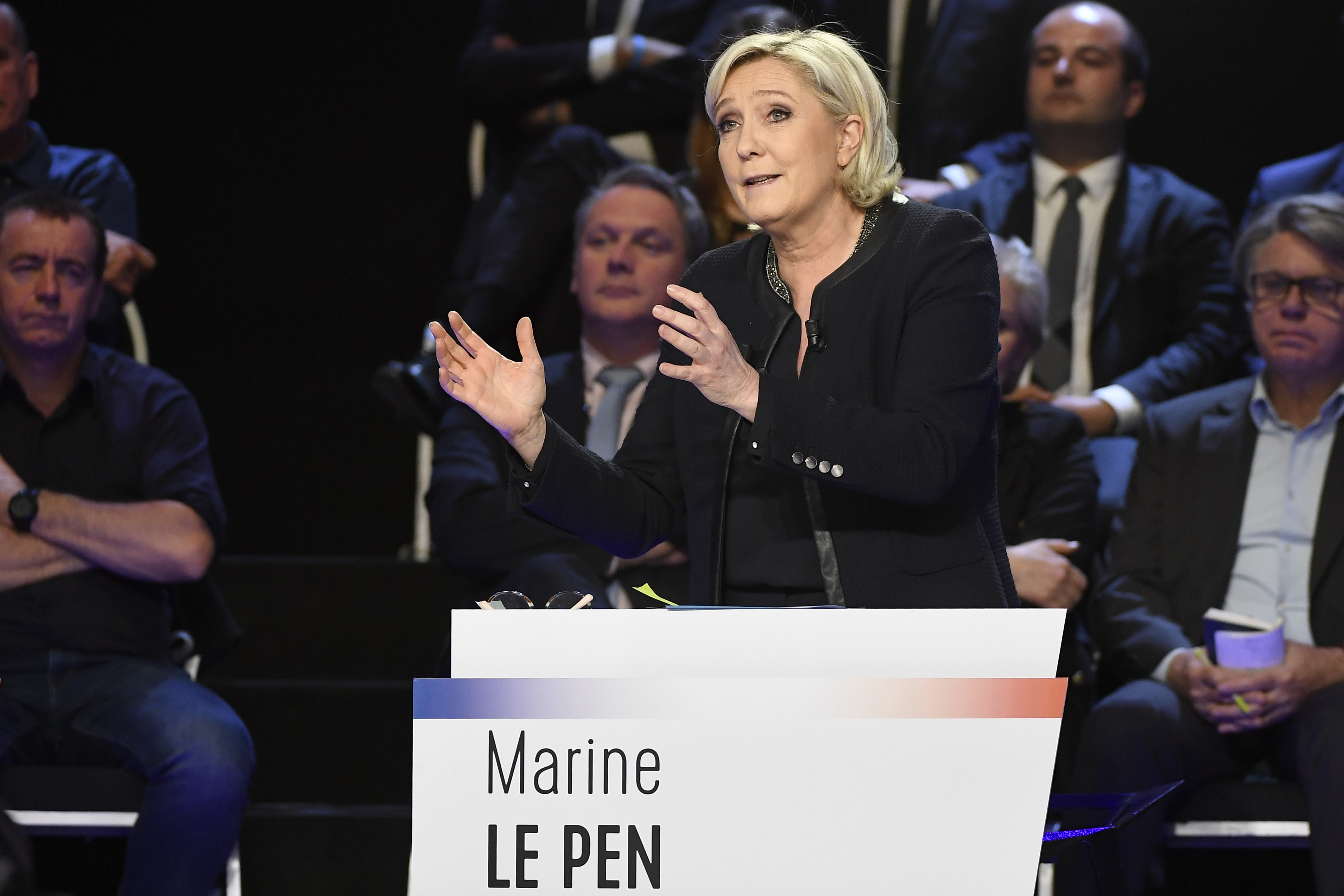 Marine Le Pen of French National Front (FN) attends a prime-time televised debate for the candidates at French 2017 presidential election in La Plaine Saint-Denis, near Paris, France on April 4, 2017. (REUTERS/Lionel Bonaventure/Pool)