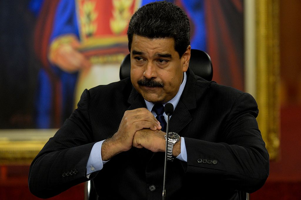 Venezuelan President Nicolas Maduro during a press conference with international media correspondents at the Miraflores Presidential Palace in Caracas on Jan. (FEDERICO PARRA/AFP/Getty Images)