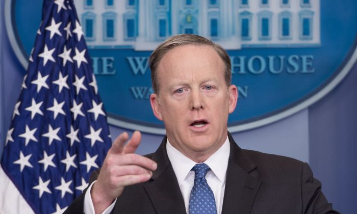 White House spokesman Sean Spicer during the daily press briefing at the White House in Washington on April 3, 2017. (NICHOLAS KAMM/AFP/Getty Images)