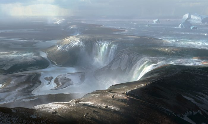 An illustration of what the land bridge connecting Britain to Europe may have looked like before the formation of the Dover Strait in an image handed out by Imperial College London April 4, 2017. The foreground is around where the port of Calais is today and way in the distance (the background of this illustration) is early Britain. Huge waterfalls cascading over the land bridge represents the beginning of physical separation of Britain from Europe. (Imperial College London/Chase Stone handout via REUTERS)