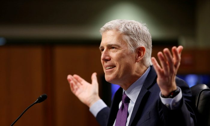 Then-U.S. Supreme Court nominee judge Neil Gorsuch testifies at his Senate Judiciary Committee confirmation hearing on Capitol Hill in Washington on March 21, 2017. (REUTERS/Joshua Roberts/File Photo)