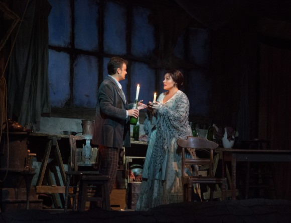 """Dmytro Popov as Rodolfo and Ailyn Pérez as Mimì in Puccini's """"La Bohème"""" at the Met Opera in January. Pérez takes part in the second Opera Party on May 15. (Marty Sohl/Metropolitan Opera)"""