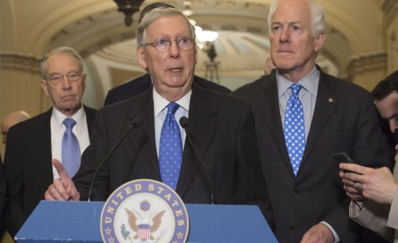 US Senate Majority Leader Mitch McConnell (C), Republican of Kentucky, speaks alongside Republican Senate leadership to the press about the vote for Neil Gorsuch to serve on the Supreme Court, at the US Capitol in Washington on April 4, 2017. (SAUL LOEB/AFP/Getty Images)