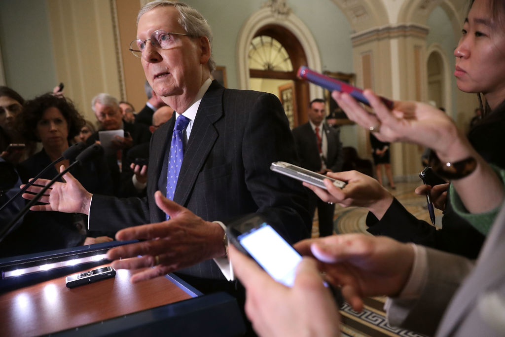 Senate Majority Leader Mitch McConnell (R-KY) during a news conference following the weekly Republican policy luncheon at the U.S. Capitol in Washington on April 4, 2017. (Chip Somodevilla/Getty Images))