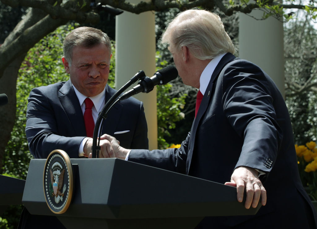 President Donald Trump (R) and King Abdullah II (L) of Jordan during a joint news conference at the Rose Garden of the White House  in Washington on April 5, 2017. (Alex Wong/Getty Images)