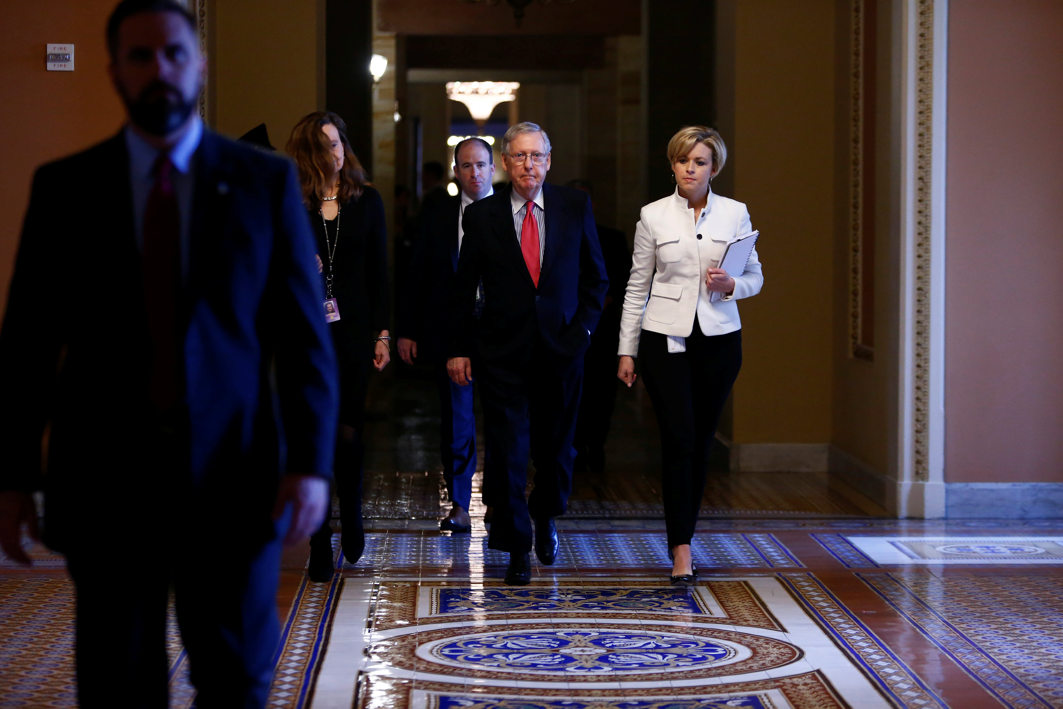 U.S. Senate Majority Leader Mitch McConnell walks to the Senate Chamber on Capitol Hill in Washington on April 6, 2017. (REUTERS/Eric Thayer)