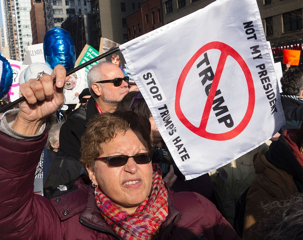Protesters gather in midtown Manhattan as part of the Women's march vowing to resist US President Trump in New York on Jan. 21, 2017.  (DON EMMERT/AFP/Getty Images)
