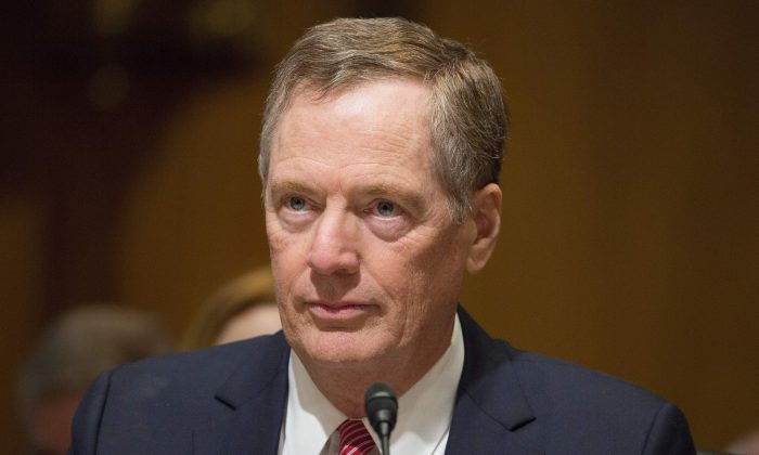 Robert Lighthizer, nominee for US Trade Representative, speaks at the Senate Finance Committee full hearing on the nomination of the U.S Trade Representative in Washington on March 14, 2017. (TASOS KATOPODIS/AFP/Getty Images)