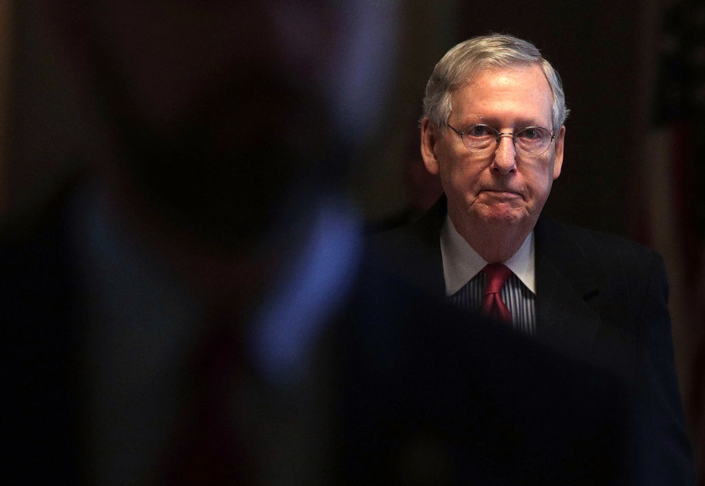 Senate Majority Leader Sen. Mitch McConnell (R-KY) walks towards the Senate Chamber at the Capitolon in Washington on April 6, 2017. (Alex Wong/Getty Images)