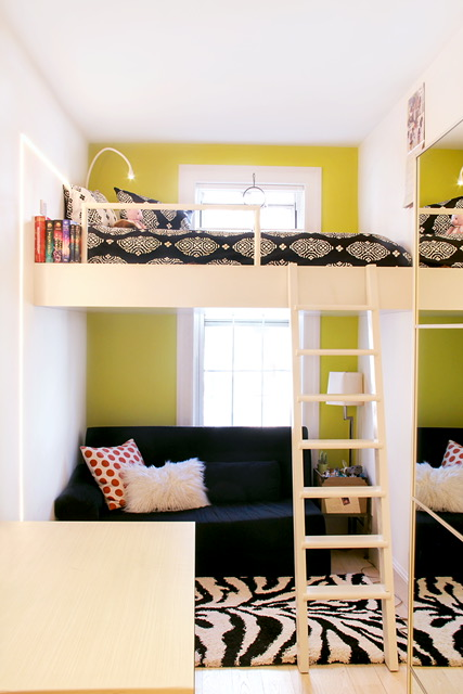 This teenage girl's bedroom was tiny, so DiCarlo put in a loft bed and lounge space right at the window for a view of green space.