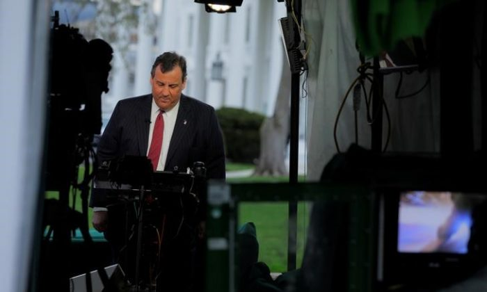 New Jersey Governor Chris Christie appears in a live television segment from the White House in Washington, U.S., March 29, 2017. (REUTERS/Jonathan Ernst)