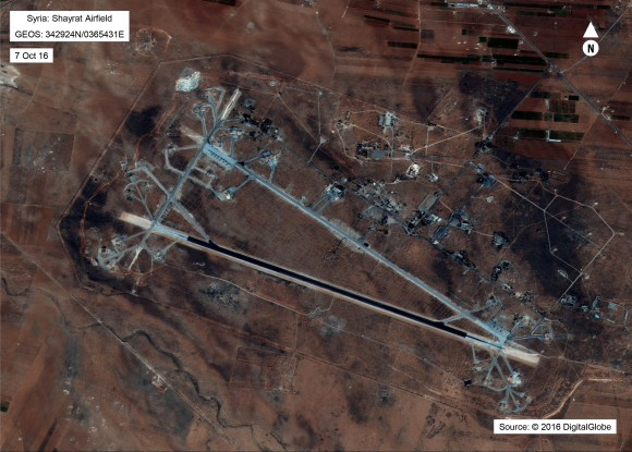 Shayrat Airfield in Homs, Syria in an image released by the Pentagon after announcing U.S. forces conducted a cruise missile strike against the Syrian Air Force airfield. (DigitalGlobe/Courtesy U.S. Department of Defense DigitalGlobe/Courtesy U.S. Department of Defense)