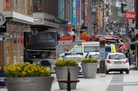 People were killed when a truck crashed into department store Ahlens on Drottninggatan, in central Stockholm, Sweden April 7, 2017. (TT News Agency/Anders Wiklund/via REUTERS)