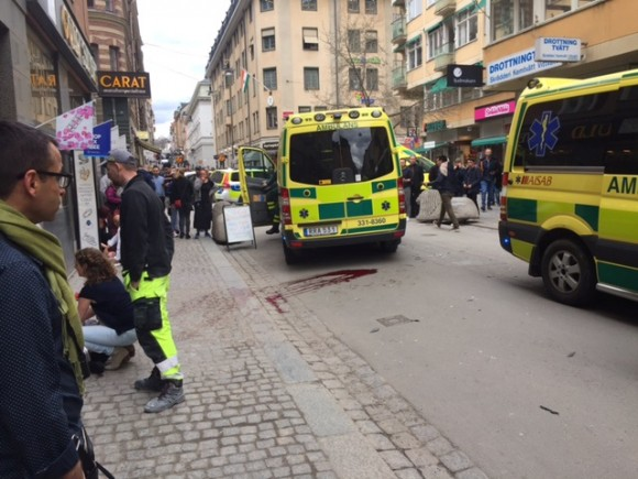 People were killed when a truck crashed into department store Ahlens on Drottninggatan, in central Stockholm, Sweden April 7, 2017. (TT News Agency/Rose-Marie Otter/via REUTERS)