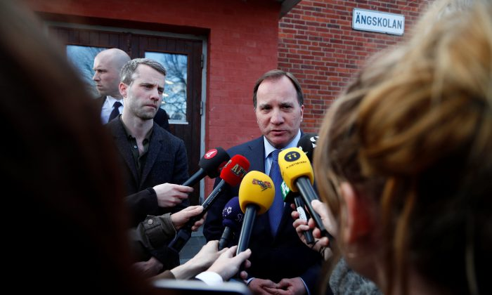 Prime minister Stefan Lofven makes a statement after people were killed when a truck crashed into department store Ahlens on Drottninggatan, in central Stockholm, Sweden April 7, 2017. (TT News Agency/Thomas Johansson/via REUTERS)