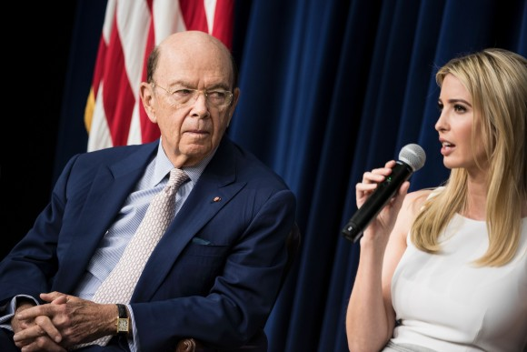 US Secretary of Commerce Wilbur Ross (L) listens while US First daughter Ivanka Trump speaks during a forum with Chief Executive Officers on the White House Campus in Washington on April 4, 2017. (BRENDAN SMIALOWSKI/AFP/Getty Images)