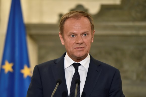European Council's President Donald Tusk addresses media after talks with the Greek prime minister in Athens on April 5, 2017. (LOUISA GOULIAMAKI/AFP/Getty Images)