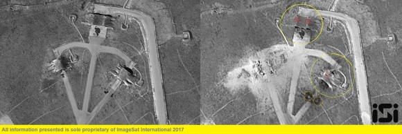 The Syrian Shayrat airfield base is pictured in undated before and after (taken April 7, 2017) satellite imagery, in Homs Syria. (ImageSat International N.V. © 2017/Handout via REUTERS)