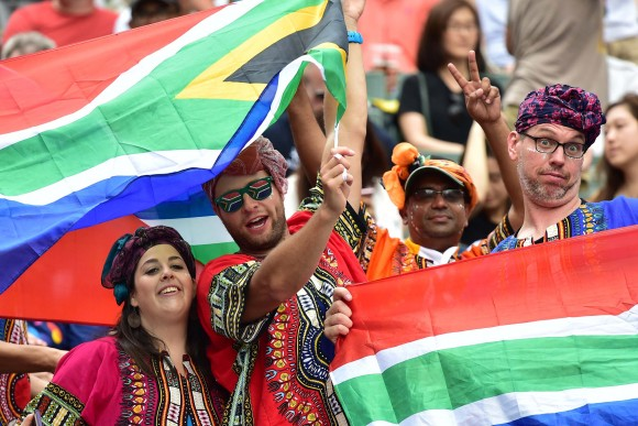 South African supporters in the South Stand. (Bill Cox/Epoch Times)