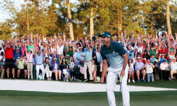 Spain's Sergio Garcia celebrates after defeating Justin Rose on the first playoff hole of the 2017 Masters Tournament at Augusta National Golf Club on April 9, 2017 in Augusta, Georgia. (Rob Carr/Getty Images)