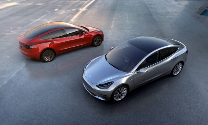Tesla Motors' mass-market Model 3 electric cars are seen in this handout picture from Tesla Motors on March 31, 2016. (Tesla Motors/Handout via REUTERS)