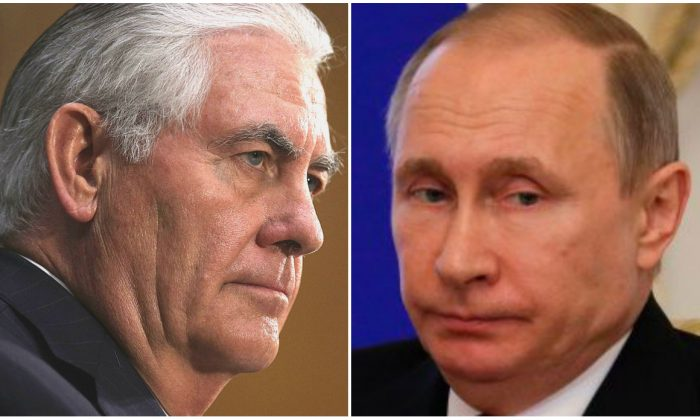Rex Tillerson testifies during his confirmation hearing before the Senate Foreign Relations Committee on Capitol Hill in Washington on Jan. 11, 2017; Russian President Vladimir Putin at a meeting with his Belarus' counterpart in Saint Petersburg on April 3, 2017.(Alex Wong/Getty Images; DMITRI LOVETSKY/AFP/Getty Images)