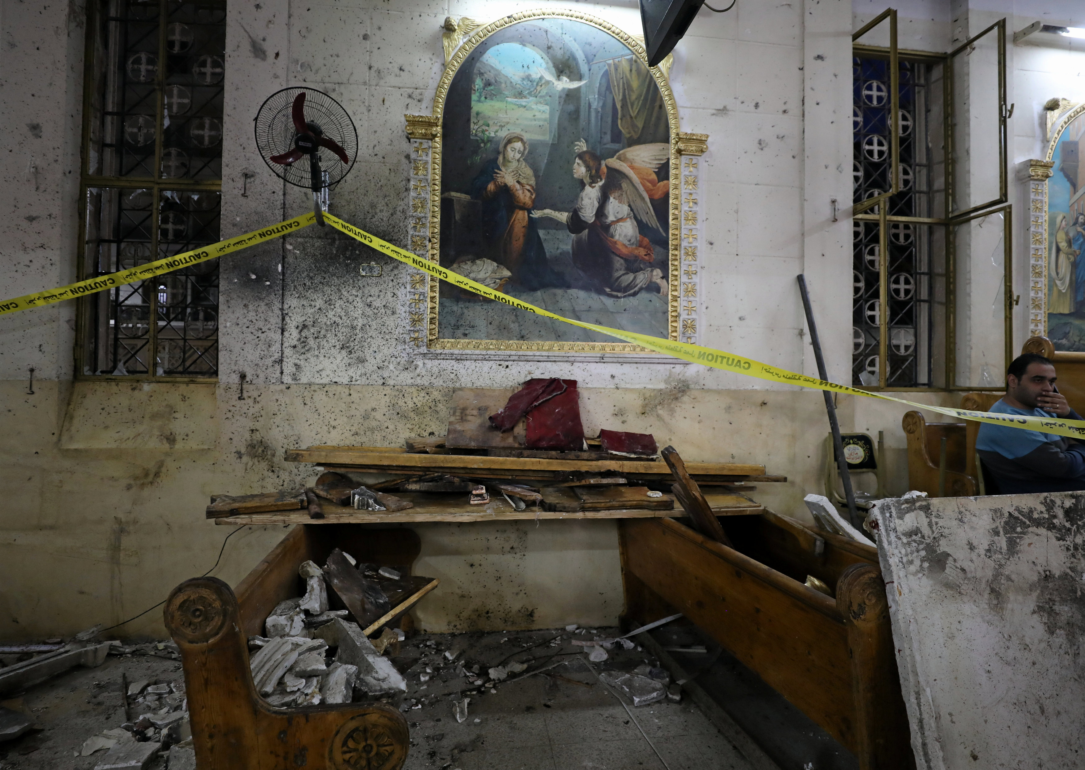 The aftermath of an explosion that took place at a Coptic church on Sunday in Tanta, Egypt on April 9, 2017. (REUTERS/Mohamed Abd El Ghany)