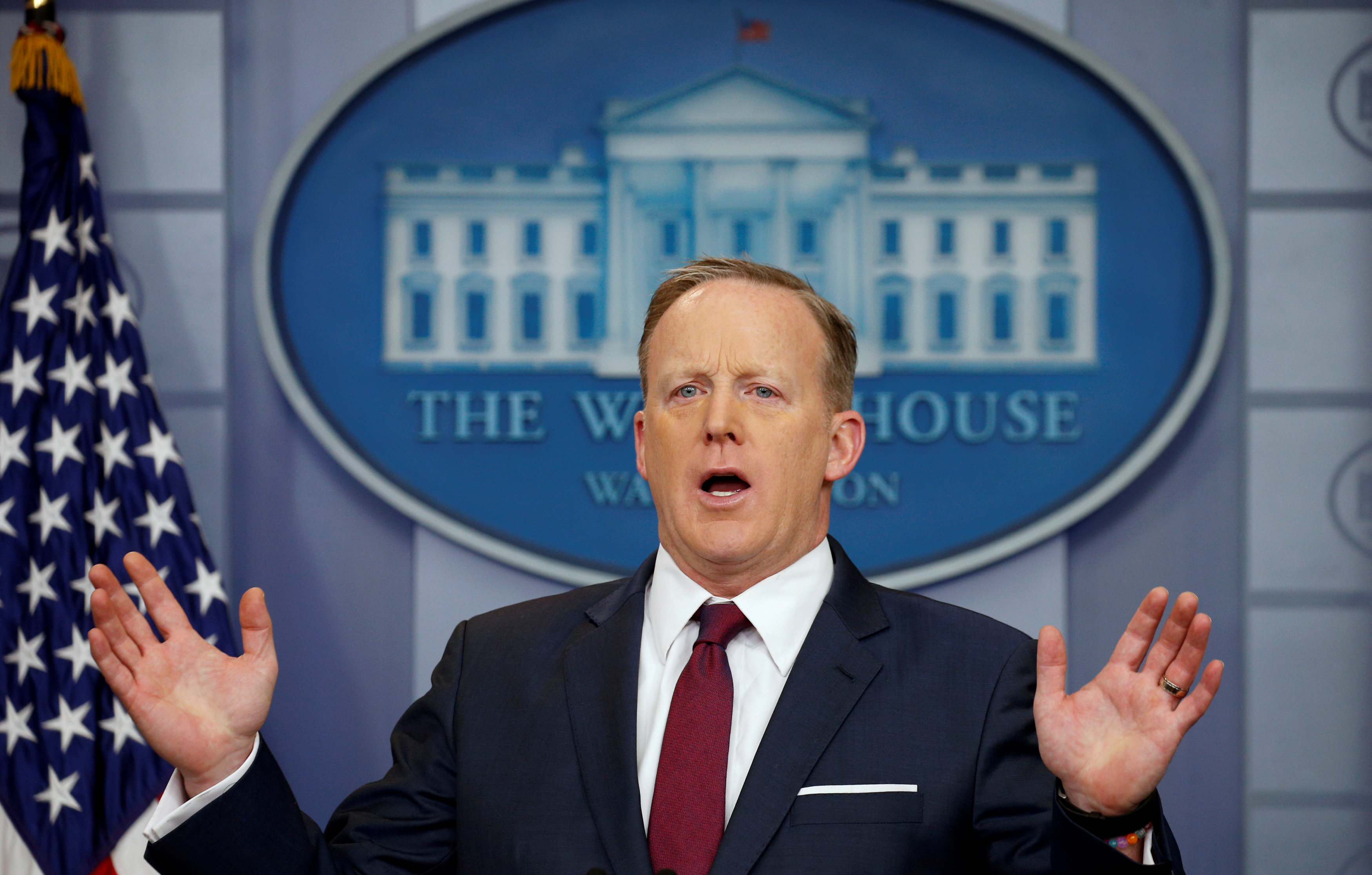 White House spokesman Sean Spicer during a press briefing at the White House in Washington on March 24, 2017. (REUTERS/Kevin Lamarque)