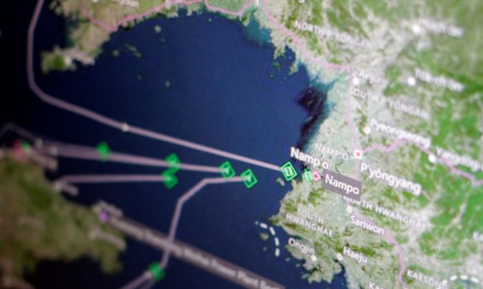 A Thomson Reuters Eikon ship-tracking screen shows cargo ships returning to Nampo port in North Korea on April 11, 2017. (REUTERS/Thomas White/Illustration)