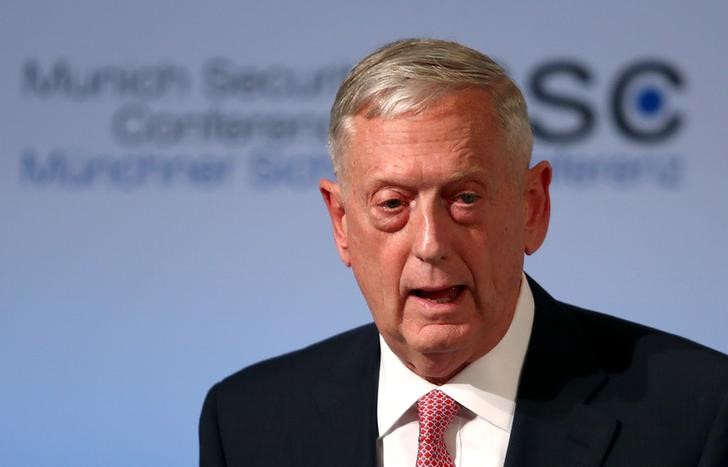 Defense Secretary Jim Mattis speaks at the opening of the 53rd Munich Security Conference in Munich, Germany on Feb. 17, 2017.  (REUTERS/Michael Dalder)