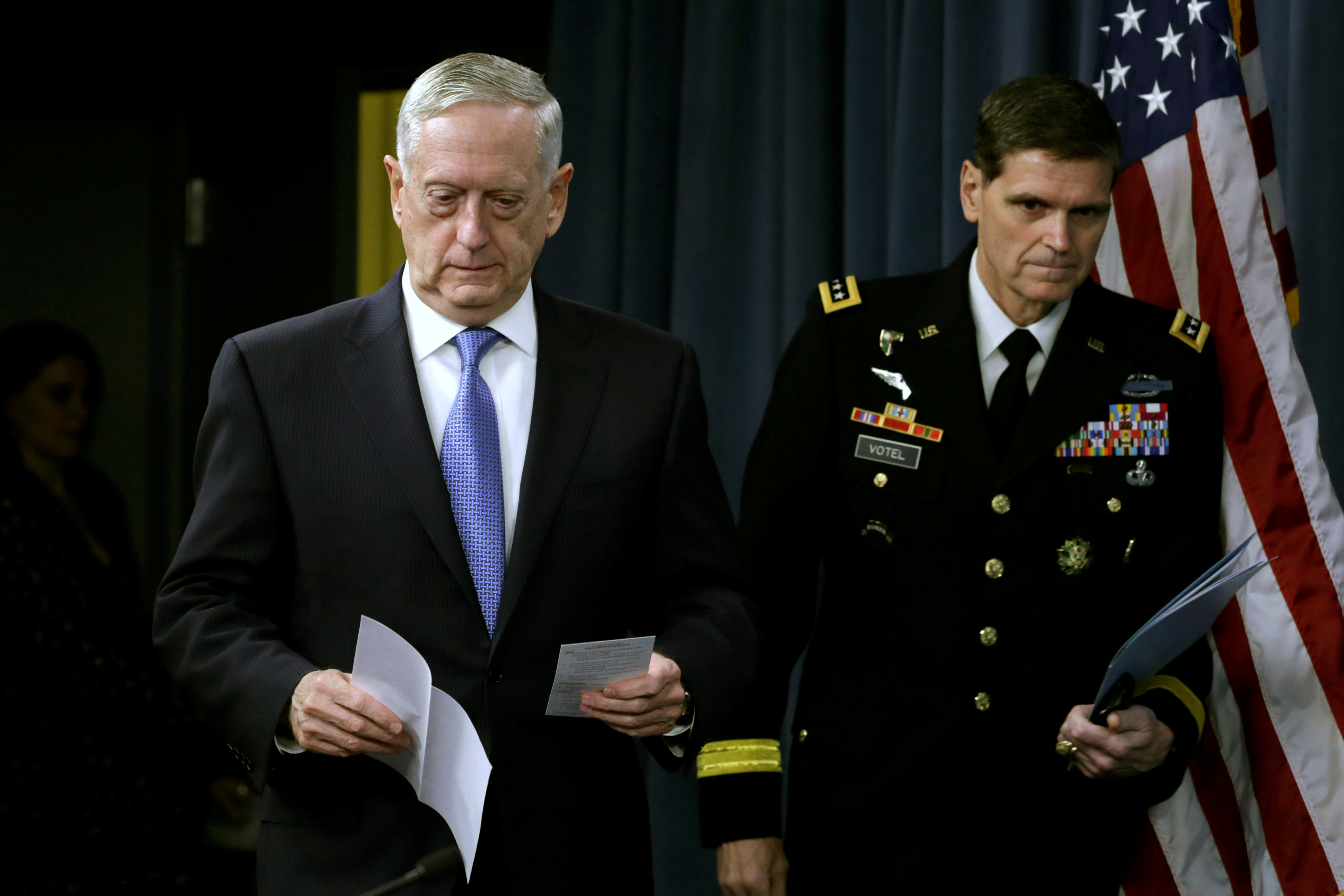 U.S. Defense Secretary James Mattis (L) and Army Gen. Joseph Votel, commander of U.S. Central Command, arrive to brief the media at the Pentagon in Washington on April 11, 2017. (REUTERS/Yuri Gripas)