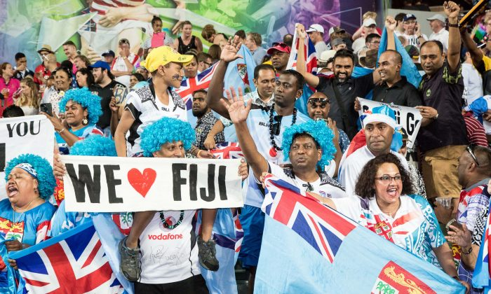 Fiji supporters enjoying the Cathay Pacific/HSBC Sevens, celebrate another famous Rugby Sevens victory in Hong Kong on Sunday April 9, 2017. (Dan Marchant)