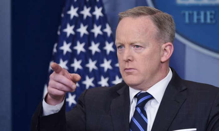 White House Press Secretary Sean Spicer speaks in the Brady Briefing Room of the White House  in Washington on April 10, 2017. (MANDEL NGAN/AFP/Getty Images)