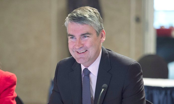 "Nova Scotia Premier Stephen McNeil during a meeting of Atlantic premiers in Saint John, N.B., on April 12, 2017. McNeil said the CBC program ""Canada: The Story of Us"" was wrong to assert that the country's first permanent European settlement was established near what is now Quebec City, when it was actually established in Port Royal, N.S. (The Canadian Press/Andrew Vaughan)"