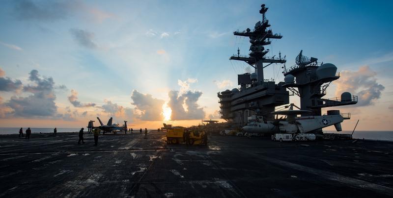 The aircraft carrier USS Carl Vinson (CVN 70) transits the South China Sea on April 8, 2017. (U.S. Navy photo by Mass Communication Specialist 3rd Class Matt Brown/Handout via Reuters)