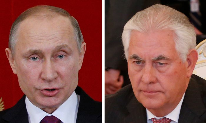 Combination photo of U.S. Secretary of State Rex Tillerson (R) and Russian President Vladimir Putin. (REUTERS/Maxim Shemetov)