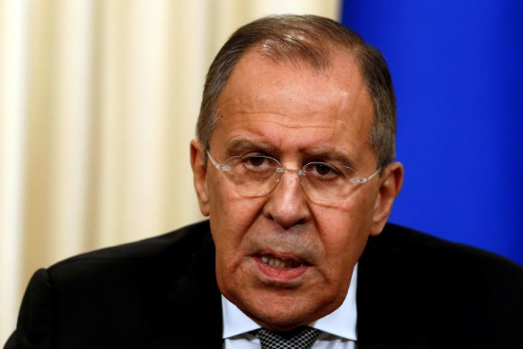 Russian Foreign Minister Sergei Lavrov speaks during a news conference with U.S. Secretary of State Rex Tillerson following their talks in Moscow, Russia, April 12, 2017. (REUTERS/Sergei Karpukhin)