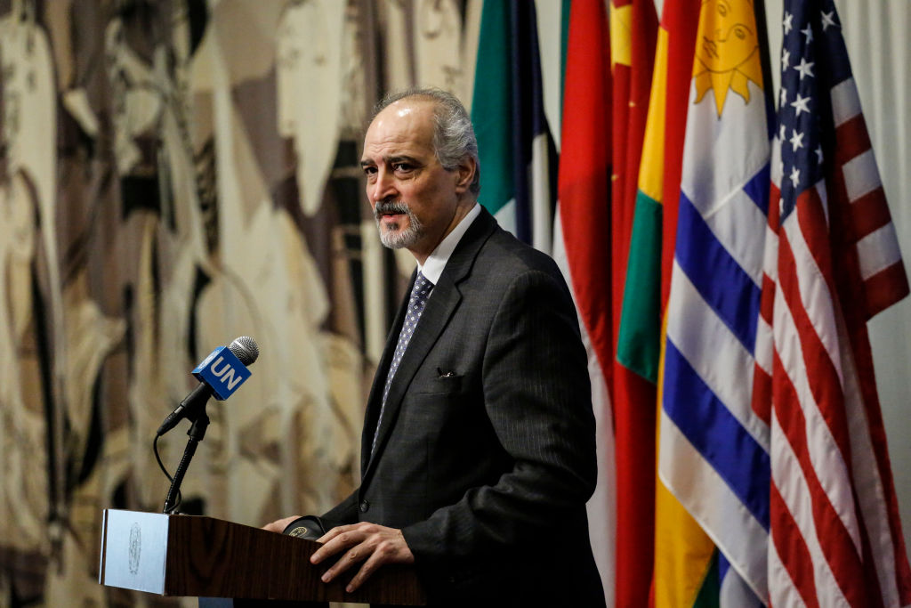Syrian ambassador to the United Nations Bashar Jaafari speaks outside the Security Council at UN Headquarters in New York on April 12, 2017. (KENA BETANCUR/AFP/Getty Images)