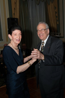 Ellen and Bob Gutenstein dance at their 55th wedding anniversary celebration. (Courtesy of the Gutenstein family)
