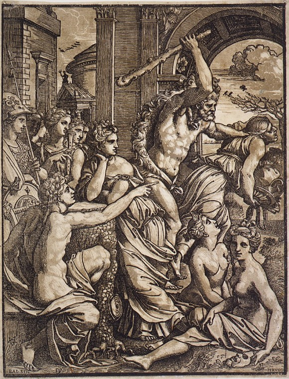 """""""Hercules chasing Avarice from the Temple of the Muses,"""" circa 1510–1530, by Ugo da Carpi."""